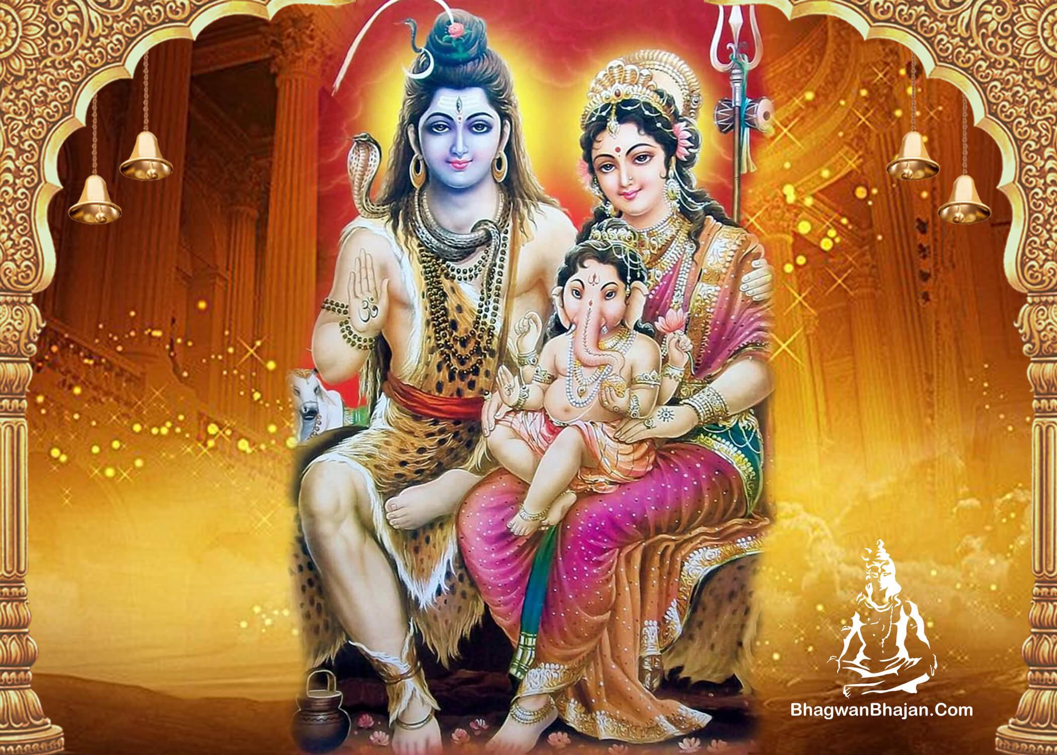 bhagwan shiv maa parvati bal ganesha wallpaper