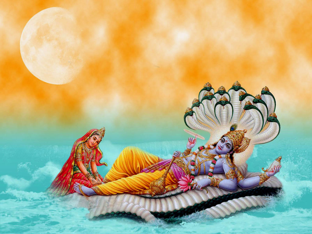 Lord Vishnu Ji Laxmi ji wallpaper