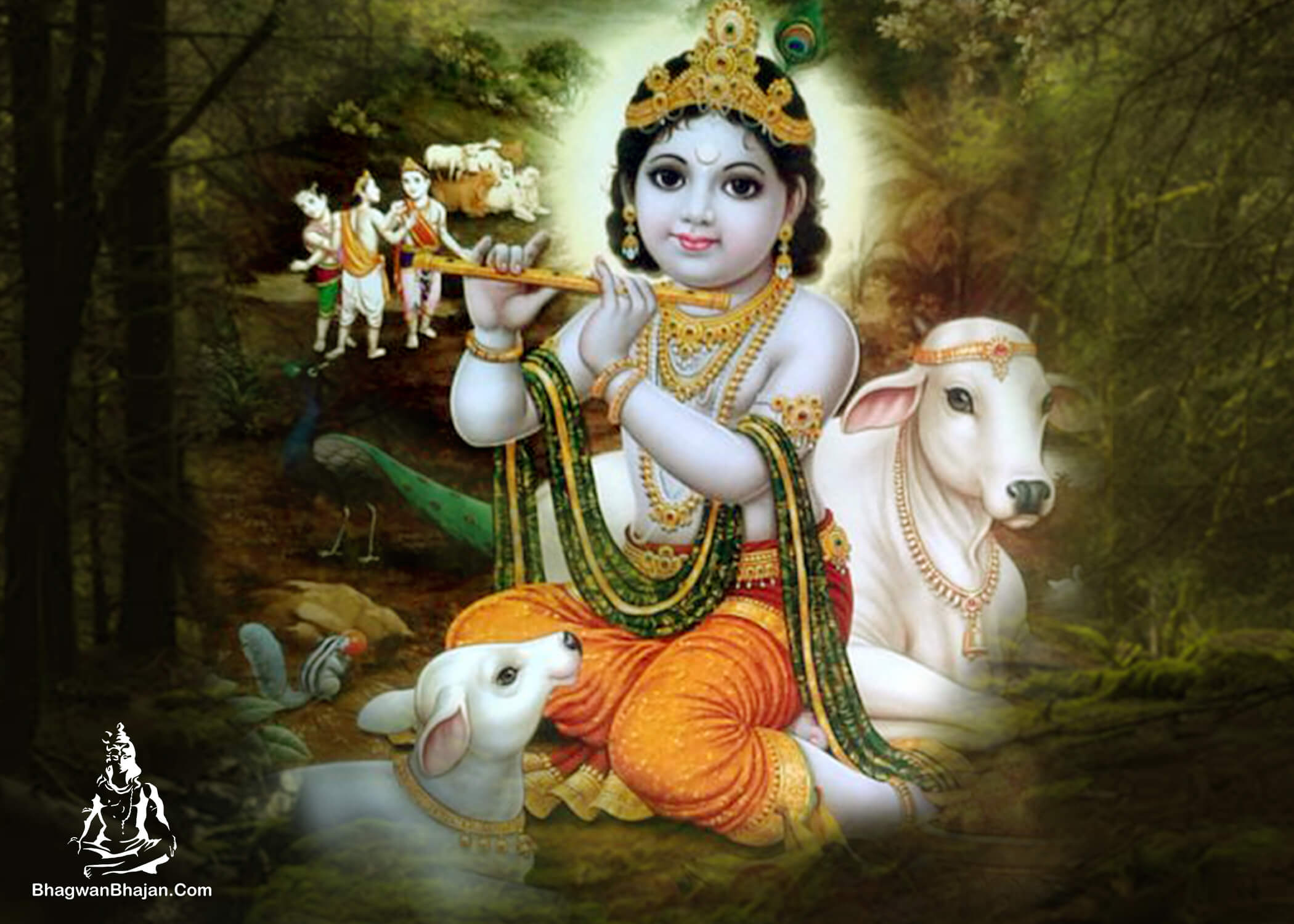 shree krishna and cow hd wallpaper