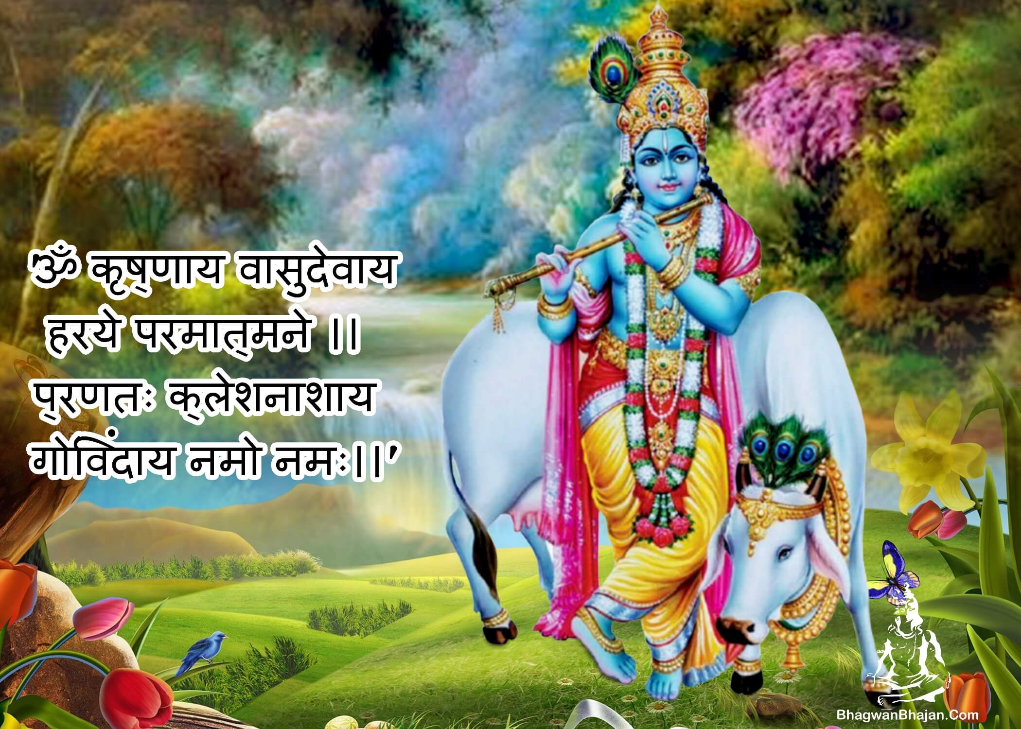 shri krishna vasudevay namah hd wallpaper
